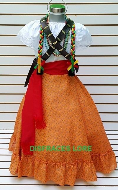 9f7eb666f Falda Adelita Disfraz Blusa Revolucion Mex Niñas Vestido - $ 390.00 ...
