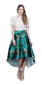 ca725a14fcf Falda Asimétrica Color Verde Con Estampado Floral Amarillo