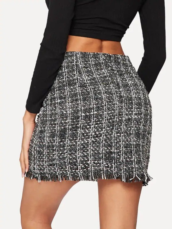 dc5e92cdb Falda Casual Tweed Con Cuadros Color Blanco Con Negro A81