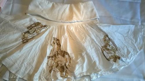 falda como nueva,bordada,algodón blanco con faja elastizada