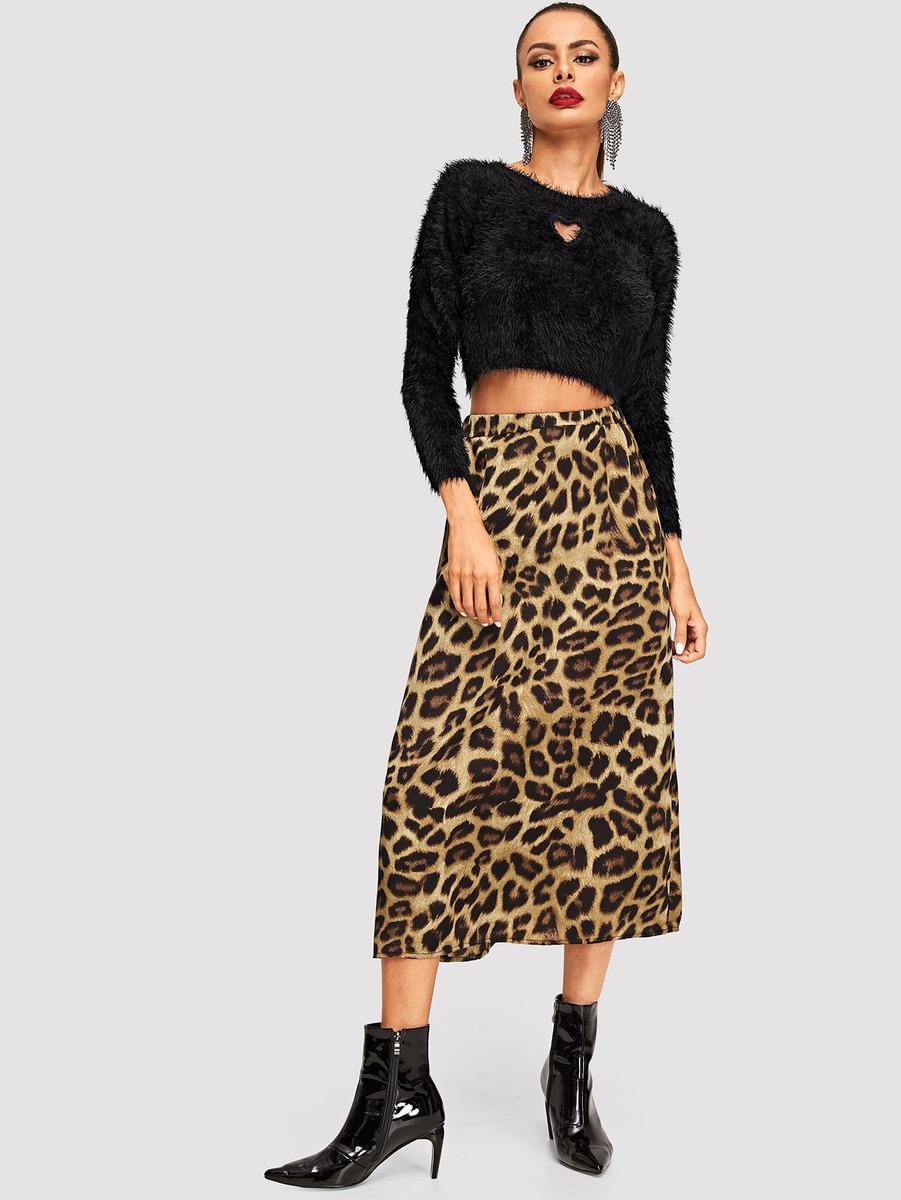 621bc9076 falda con estampado de leopardo de cintura elástica. Cargando zoom.