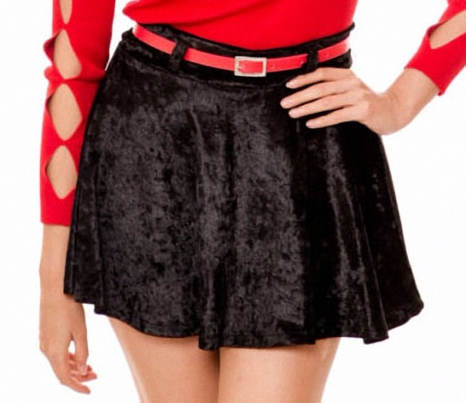 3237b7c87 Falda Corta De Terciopelo, Sexy Minifalda Casual