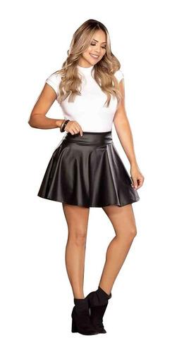 falda corta en semicuero sintetico para mujer mtk