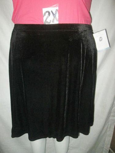 falda corta negra terciopelo  tallas 2x jaclyn smith