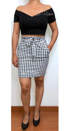 falda corta paper bag tubo lapiz formal moda juvenil casual