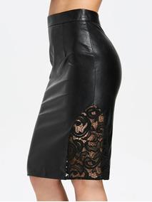 93985a886 Falda Corta Sexy Mujer Encaje Cuero Tubo Cintura Alta Moda