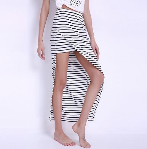 falda corta y larga a rayas gran estilo