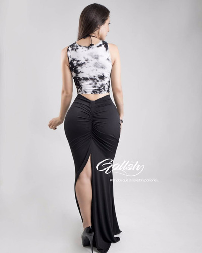 falda corte colombiano de dama sexy para antro o fiesta