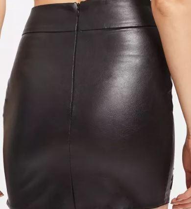 elegir original forma elegante gran venta de liquidación Falda Cuero Piel Negra Con Bordado De Flor