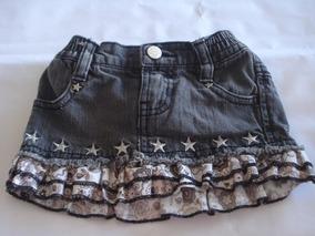 0d042bf5b Falda De Jeans Negro Estrellas Marca Epk Talla 12 M Usado