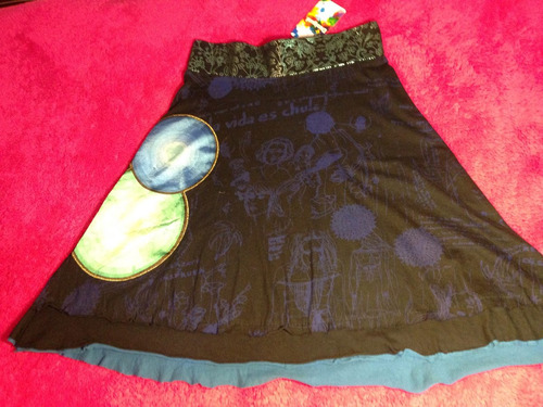 falda desigual original detalles tornasol azul /verde t- s
