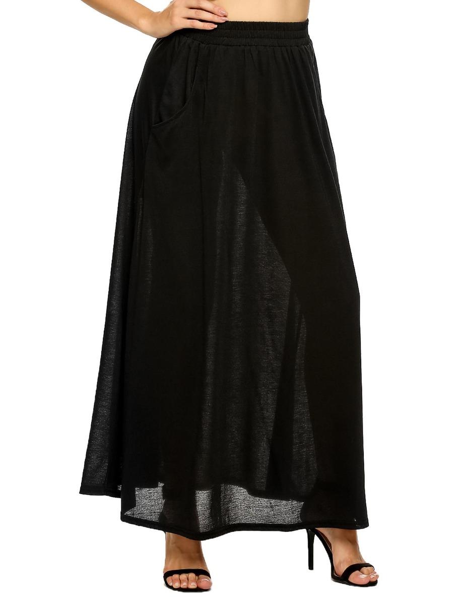 513cb35ba falda elástico cintura sólido casual flared larga con bols. Cargando zoom.