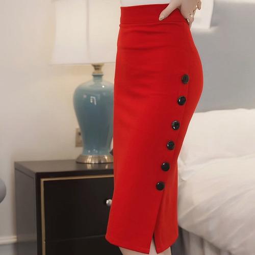 falda elegante estilo lapiz  detalles de botones 8058