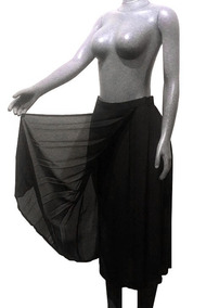 4968dadcc Falda Elegante Negra Tableada, Medio-transparente