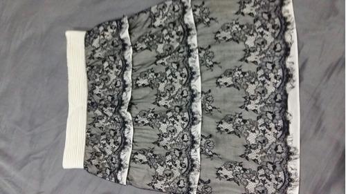falda encaje blanco negro talla s