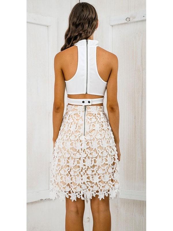 Falda Encaje De Crochet Blanca Fondo Color Piel. Fsmx1325 - $ 999.00 ...