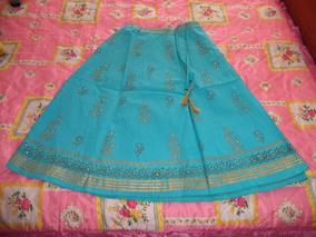 9b789a0201 Falda Etnica Hippie Hindu Bordada Azul Con Dorado Dama M