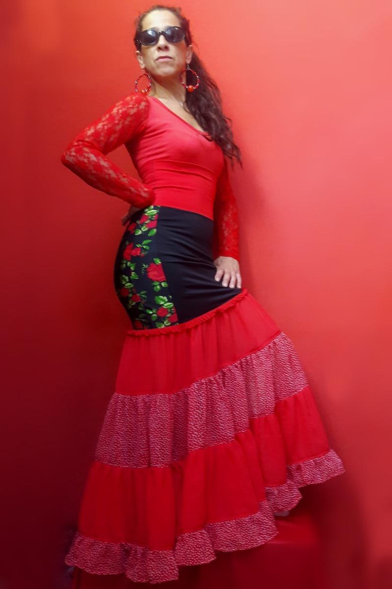 d0d6c3623 Falda Flamenca Lycra Y Gasa Modelo Canastera Talle Alto