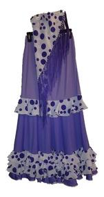 407cfa619 Falda Flamenca Violeta A Lunares Talle 44/46 Con Pico Nueva