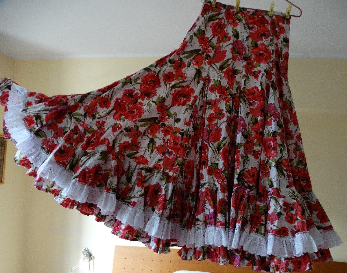 suave y ligero muy agradable imágenes detalladas Falda Flamenco Con Flores Y Encaje. - Bs. 6,00