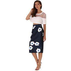 8390e9f19 Falda Floreada Azul Larga Moda Asiática