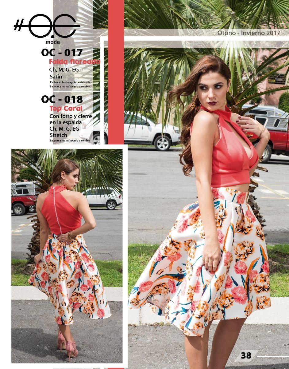 Falda Floreada  Satín  Oc Moda -   539.00 en Mercado Libre ac6d18899e3a