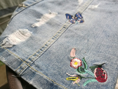 falda jean mujer bordada mariposa flor roto boton