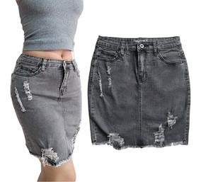 8babcde8c Falda Jean Roto Mujer Gris Stretch Tiro Alto Casual Moda