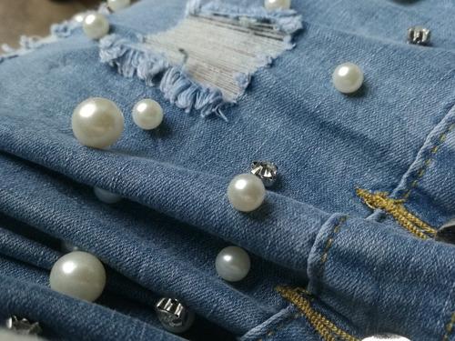 falda jean roto tubo botón perla diamante alto stretch mujer