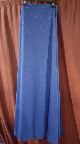 falda larga, azul rey con escarcha del mismo tono