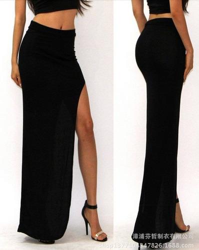 falda larga c/abertura piern tela viscosa- ivanitafashion!!!