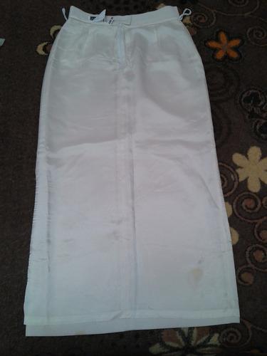 falda larga casual crema o marfil ivonne talla 30