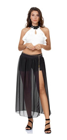 b2e2bc2a1 Falda Larga Con Abertura Sexy Transparente Negra Moda Rocker