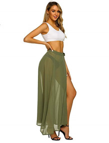 7beaf576b Falda Larga De Playa Verano Para Mujer Color Verde Maxmoda