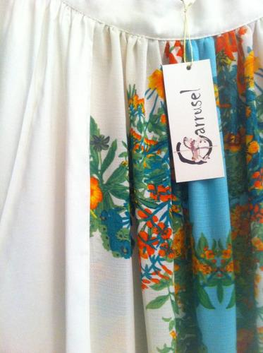 falda larga de viscosa con gasa floreada