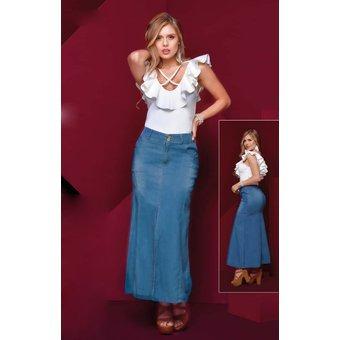 035ee92f47 Falda Larga Denim Outfit 653 Para Mujer Azul -   111.860 en Mercado ...