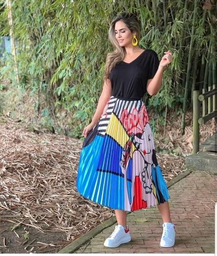falda larga estampada moda