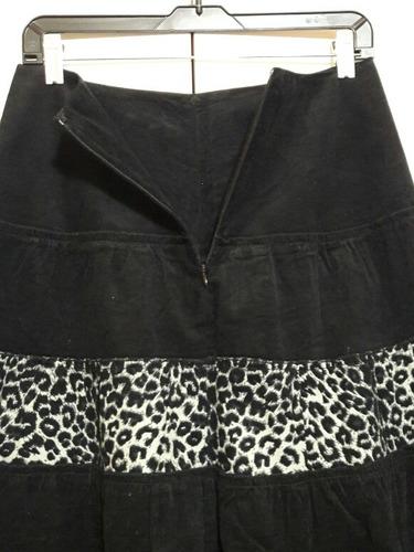 falda larga estilo folk gitana cotelé fino negro print t/s38