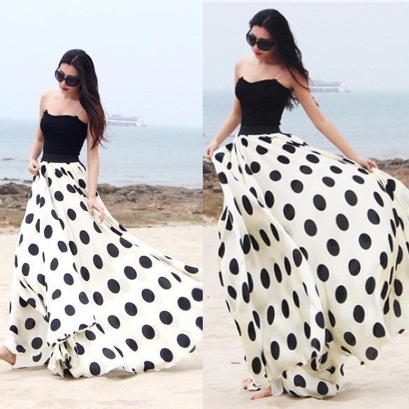 venta caliente barato muy agradable la mejor actitud Falda Larga Lunares Polka Dots Elegante Moda Japonesa Linda