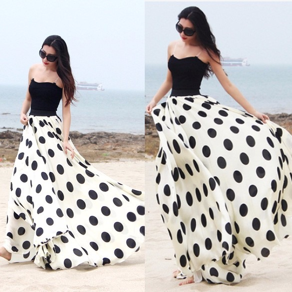 1348bef85 Falda Larga Lunares Polka Dots Elegante Moda Japonesa Linda