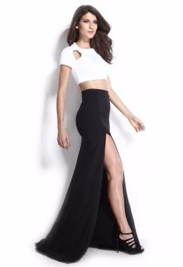 Negra Grande Moda Falda Top Larga De Vestido Fiesta Crop Con g5qw8Ax5C