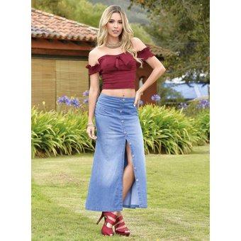 e94458c89c Falda Larga Outfit 815 Azul -   104.860 en Mercado Libre