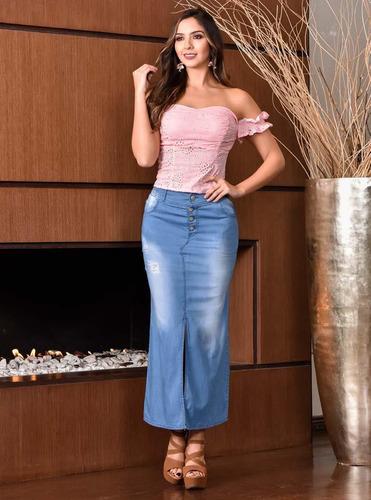 falda larga outfit 945 para mujer azul