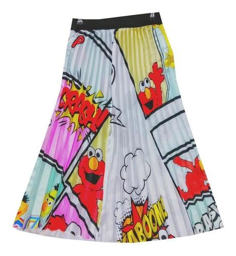 falda larga para dama con estampado de caricaturas b.e