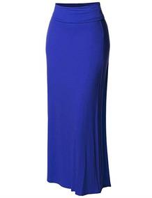 7cdb19e1dc Falda Larga Para Mujer Plegable Color Azul Rey Made By Emma