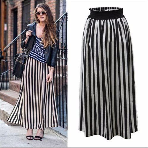 falda larga, patron listado b&n vertical, cintura elasticada