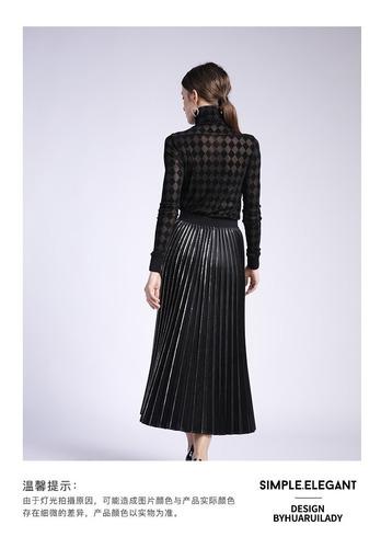 falda larga plisada trillada brillante elegante satín licra