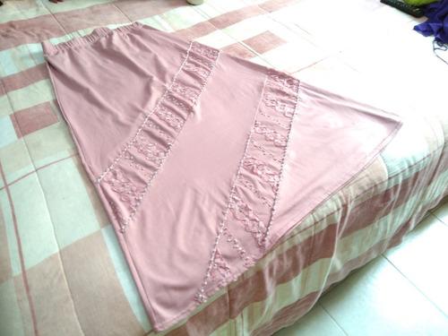 falda larga rosa pastel talla m/l con elástico