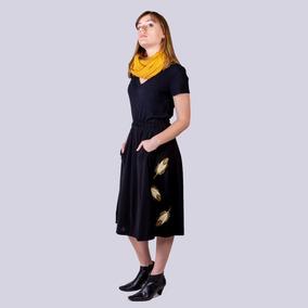 b10e2434a Falda Media Pierna Bolsillos Bordada Fashion Piume Black