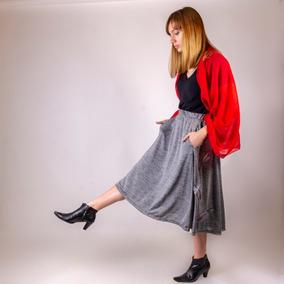 ab7393e6e Falda Media Pierna Bolsillos Bordada Fashion Piume Grey